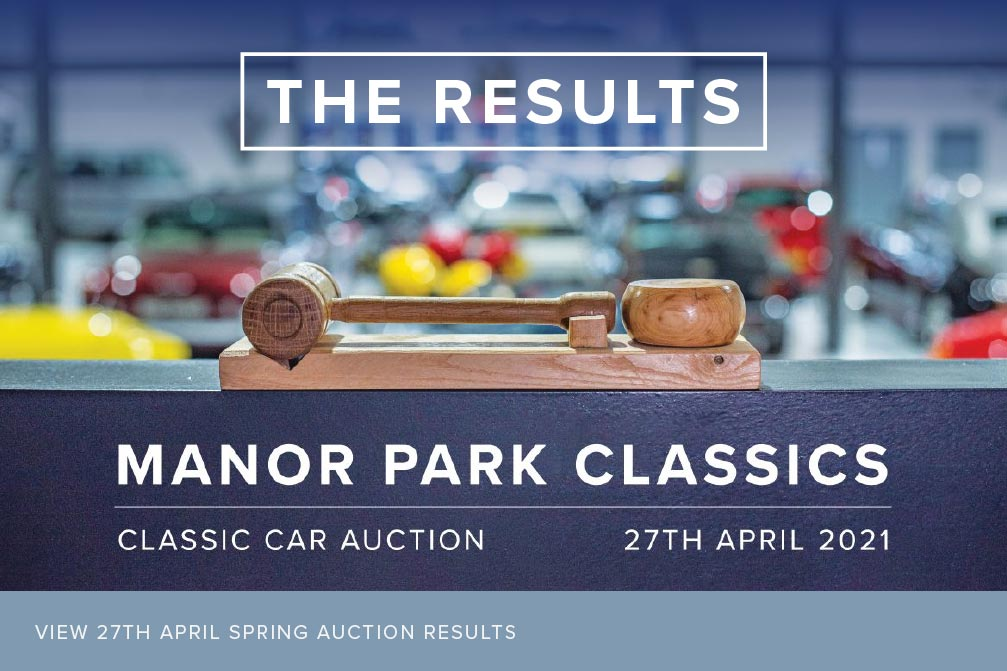 Auction gavel backlit overlooking auction house. View all Manor Park Classic Auction Cars here.